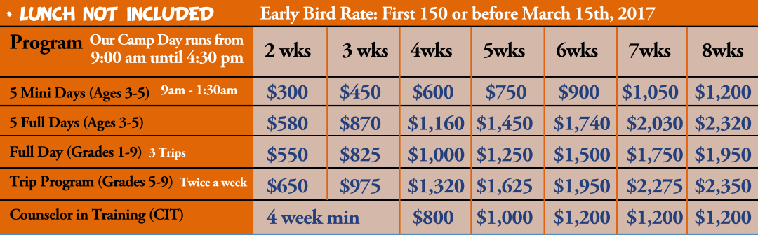 Cedar Brook Day Camp Rates